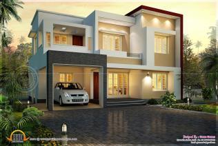 Modern Flat Roof House 1820 Square Feet Kerala Home