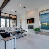 Modern Living Room High Ceiling Exposed Beam