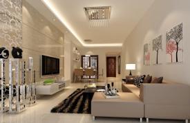 Modern Minimalist Living Dining Room Lighting Rendering