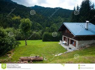 Modern Solar Log Cabin French Alps Stock