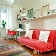 Modern Study Room Interior Design Red Furniture
