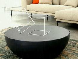 Modrest Wixon Modern Black Round Coffee Table Antique