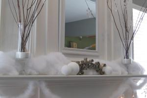Mommy Blog Snowy Mantel