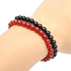 Natural Agate Beads Men Women Elastic Bracelet Couple Gift