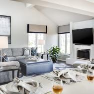 Natural Striped Wood Flooring Design Masculine Living Room