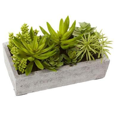 Nearly Natural Succulent Garden Concrete Planter 4841