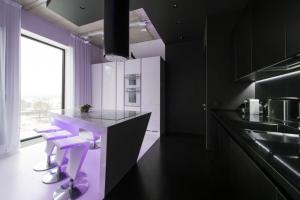 Neon Lights Add Color Uniqueness Moscow Apartment