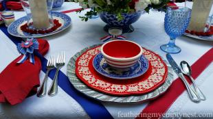 Old Fashioned 4th July Tablescape Feathering