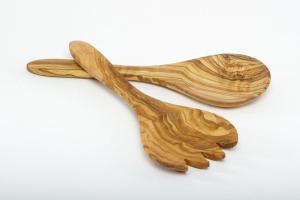 Olive Wood Salad Servers Ordinary Wooden Tongs