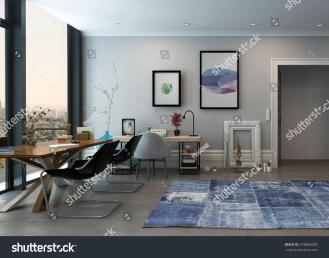Open Concept Home Office Space Eclectic Stock Illustration