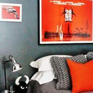 Orange Gray Bedroom Decorating Design Ideas