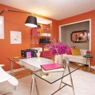 Orange Home Office Small Design Ideas