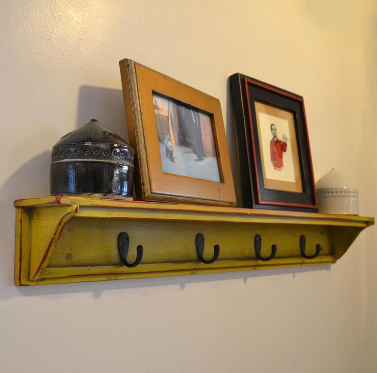 Painted Wood Diy Wall Coat Rack Rustic Display Shelf
