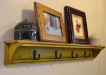 Painted Wood Diy Wall Coat Rack Rustic Display Shelf