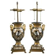 Pair French Porcelain Vases Mounted Lamps Circa