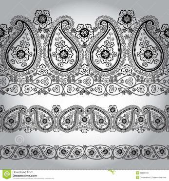 Paisley Fabric Seamless Border Lace Oriental Motif Stock
