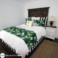 Palm Leaf Black White Stripe Custom Designer Bedding