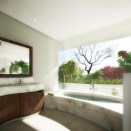 Panoramic Garden Marble Bathroom