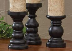 Park Designs Southport Short Wooden Black Candle Holders