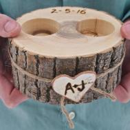 Personalized Wooden Ring Holder Bearer Brown Wood