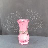 Pink Painted Vase Chalk Glass Vintage Rhinestone