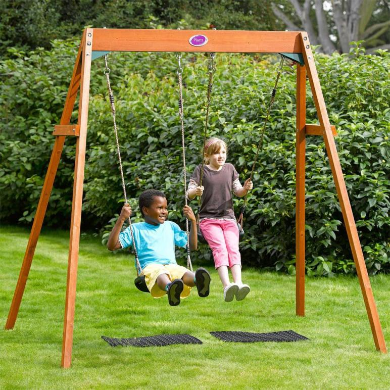Plum Outdoor Garden Childrens Double Swing Wooden Frame