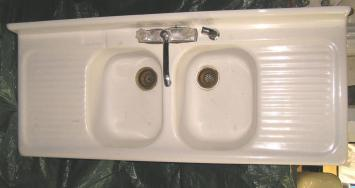 Porcelain Double Bowl Kitchen Sink Drainboard Wow Blog