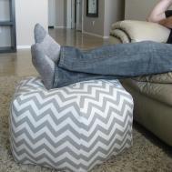 Pouf Ottoman Floor Pillow Grey White Zig Zag Aletafae