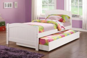 Poundex Youth Bedroom Trundle Bed White Solid Wood