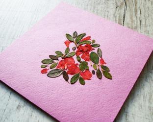 Pressed Flowers Card Dry Flower Heart Greeting