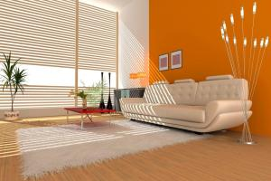 Pretty Bright Orange Paint Living Room Interior White