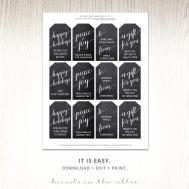 Printable Christmas Gift Chalkboard Hands