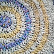 Rag Rug Handmade Crochet Round Recycled Cotton White