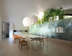 Retro Small Kitchen Design Shape White Stained Oak