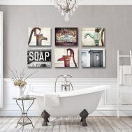 Rustic Bathroom Print Canvas Set Lisa Russo Fine