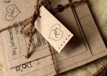 Rustic Brown Paper Bag Wedding Invite Set Customizable