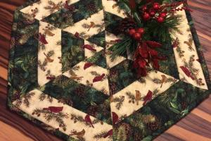 Rustic Christmas Quilted Centerpiece Table Topper