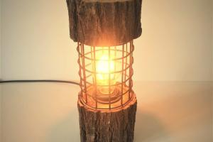 Rustic Log Lamp Metal Cage Lights