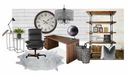 Rustic Meets Modern Office Design Board Seeking Lavendar