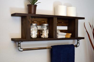 Rustic Modern Bathroom Wood Towel Bar Tier