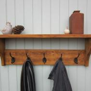 Rustic Pine Hat Coat Rack Shelf Hooks Also