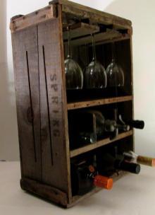 Rustic Primitive Wine Rack Wood Box Vintage New England
