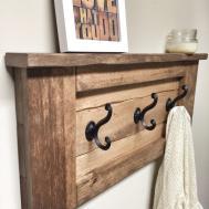 Rustic Wooden Entryway Walnut Coat Rack Shelf