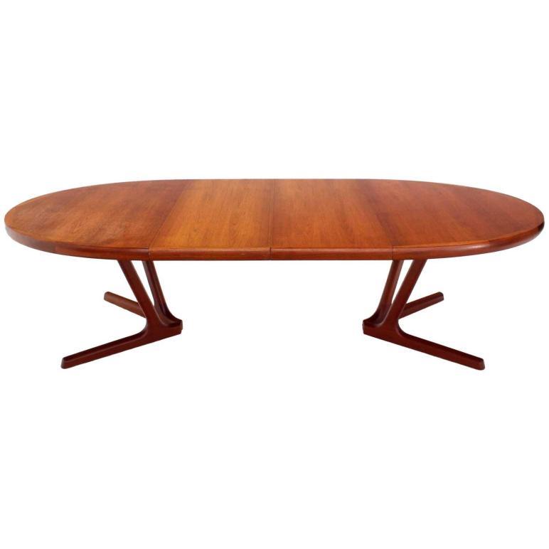 Sculptural Solid Teak Base Danish Modern Oval Dining Table