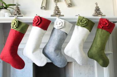 Set Wool Felt Modern Christmas Stockings Unique