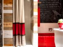 Sew Striped Shower Curtain Using Drapery Panels