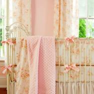 Shabby Chenille Crib Bedding Pink Floral Baby Girl