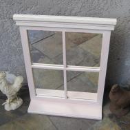 Shabby Chic Cottage Pink Window Mirror Shelf