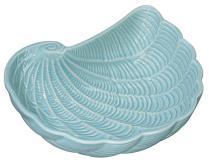 Shaped Nautilus Shell Bowl Light Aqua Embossed Ceramic