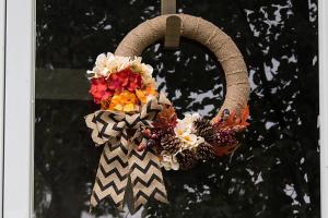 Simple Diy Burlap Wreath Fall Flowers